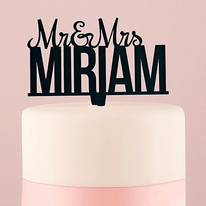 Personalized Mr. And Mrs. Acrylic Wedding Cake Top - Black