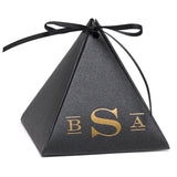 Personalized Black Shimmer Pyramid Wedding Party Favor Box