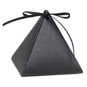 Personalized Black Shimmer Pyramid Wedding Party Favor Box (Pack of 25)