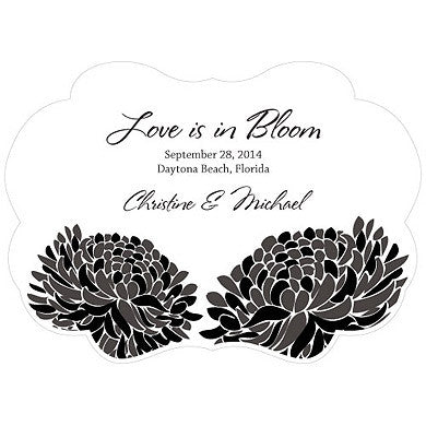 Black Zinnia Bloom Hand Fan with personalized message, bride and groom's name and wedding date.