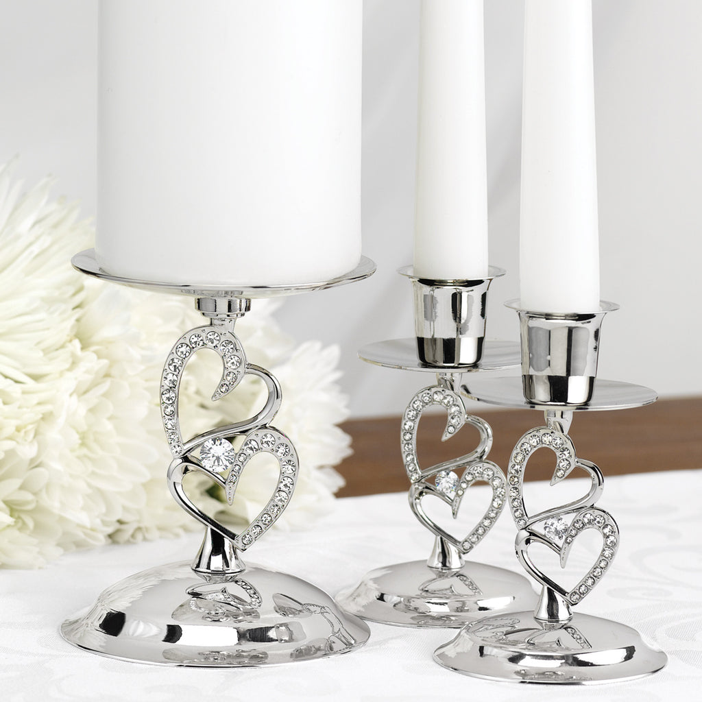 Rhinestone Heart Wedding Ceremony Candle Stand Set