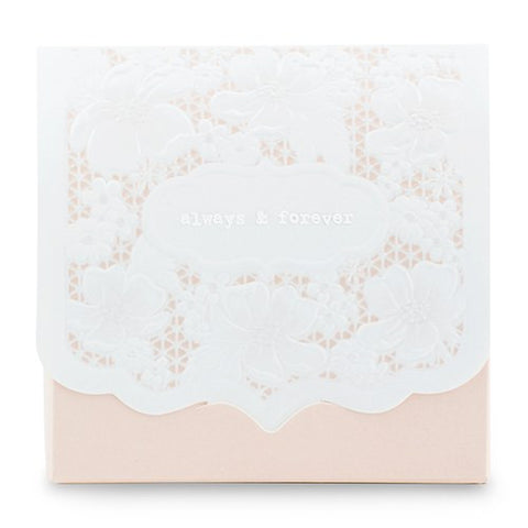 Always and Forever Blush Lace Wedding Party Favor Box