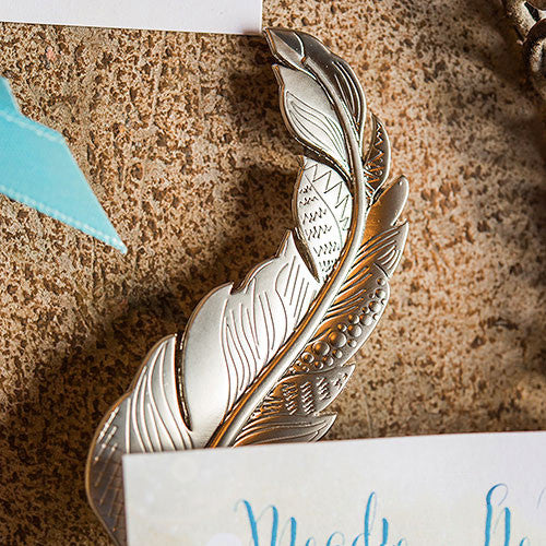 Bohemian Feather Bottle Stopper Wedding Party Favor (Pack of 6)