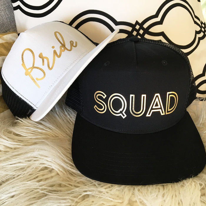 Bridal Party Trucker Hat with Gold Lettering