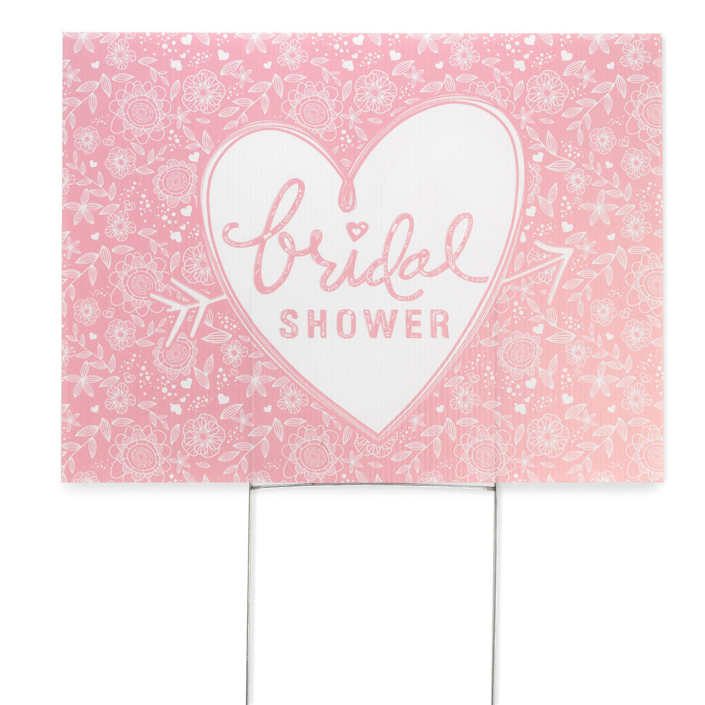 Pink and White Heart Bridal Shower Party Yard Sign