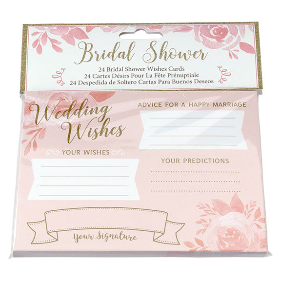 Pink and Gold Bridal Shower Best Wishes Stationery Party Game Card (Pack of 24)