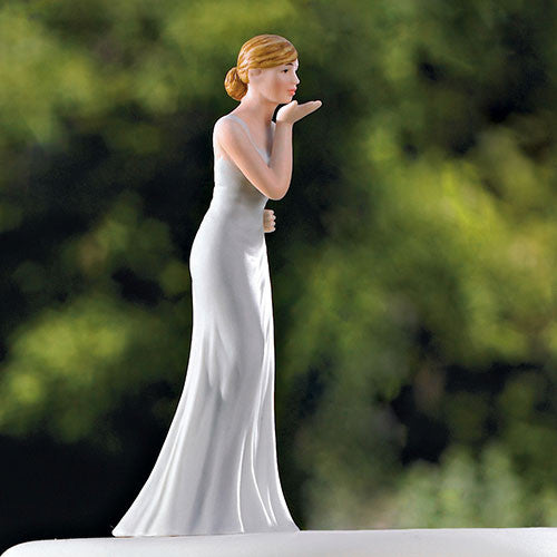 Bride Blowing Kisses to Her Groom Wedding Cake Topper
