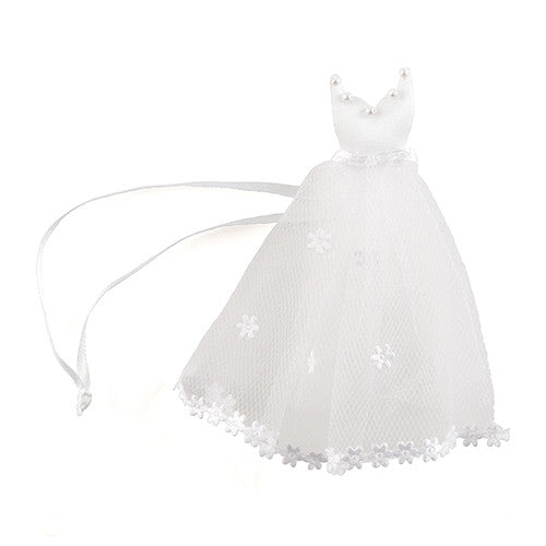 Bride's White Wedding Dress Wedding Favor Bags (Packs of 12)