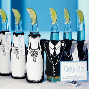 Bride & Groom Beer Bottle Cozy / Holder
