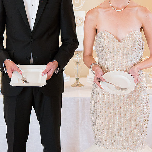 Bride And Groom Only Wedding Ideas: Bride And Groom Wedding Cake Plate And Silverware Ceremony