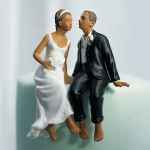 Bride and Groom Cake Top - The Kiss - Ethnic Dark Skin