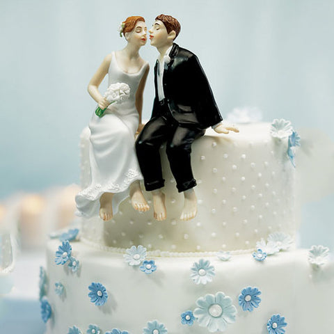 Bride and Groom Cake Top - The Kiss - Caucasian Light Skin