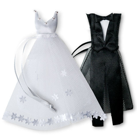 Black Tuxedo and Bride's Dress Wedding Favor Bags
