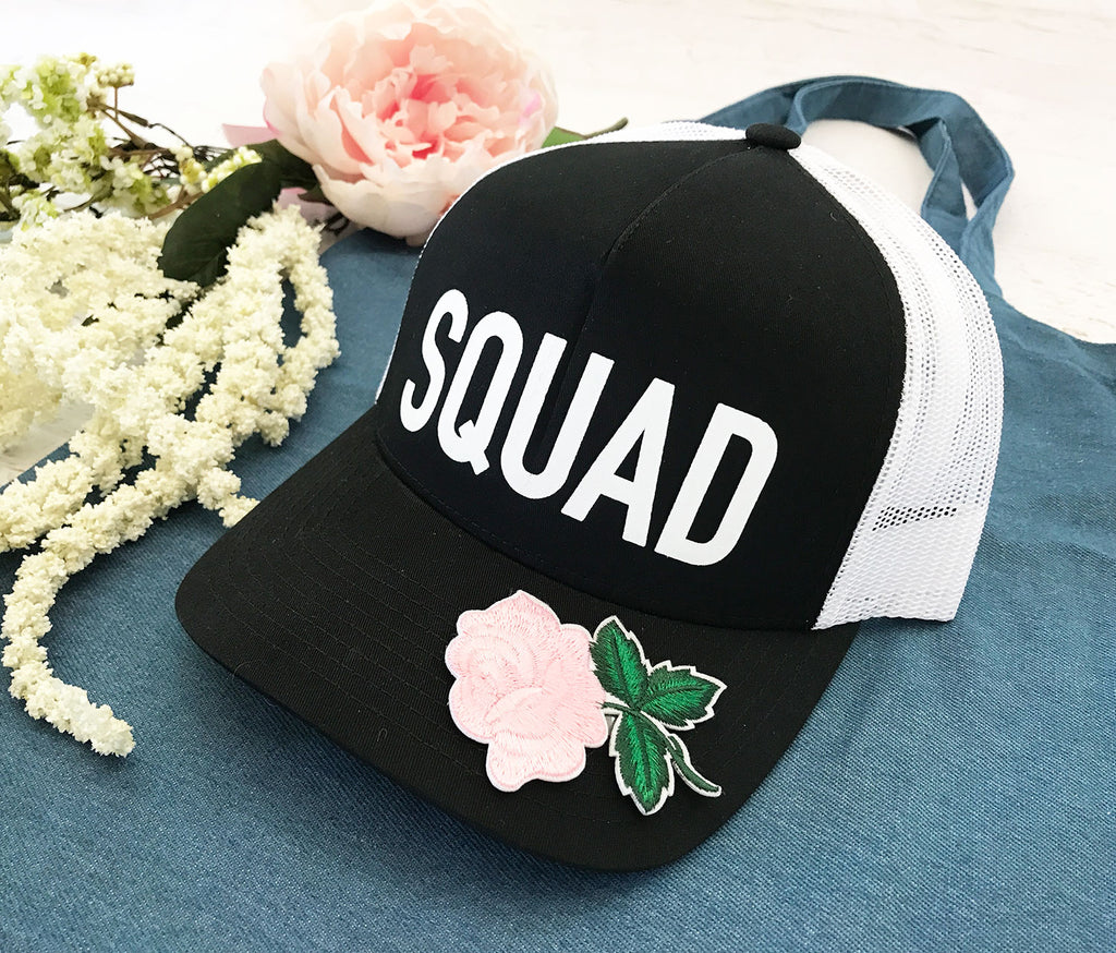 Floral Bride and Squad Hats for Wedding Bachelorette and Bridal Shower