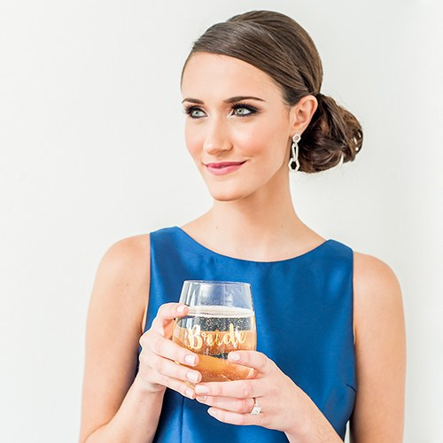 Metallic Gold Bride Stemless Glass