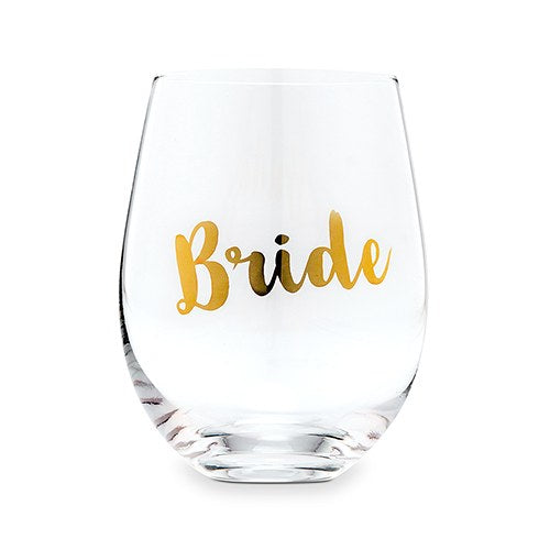 Metallic Gold Bride Stemless Wine Glass