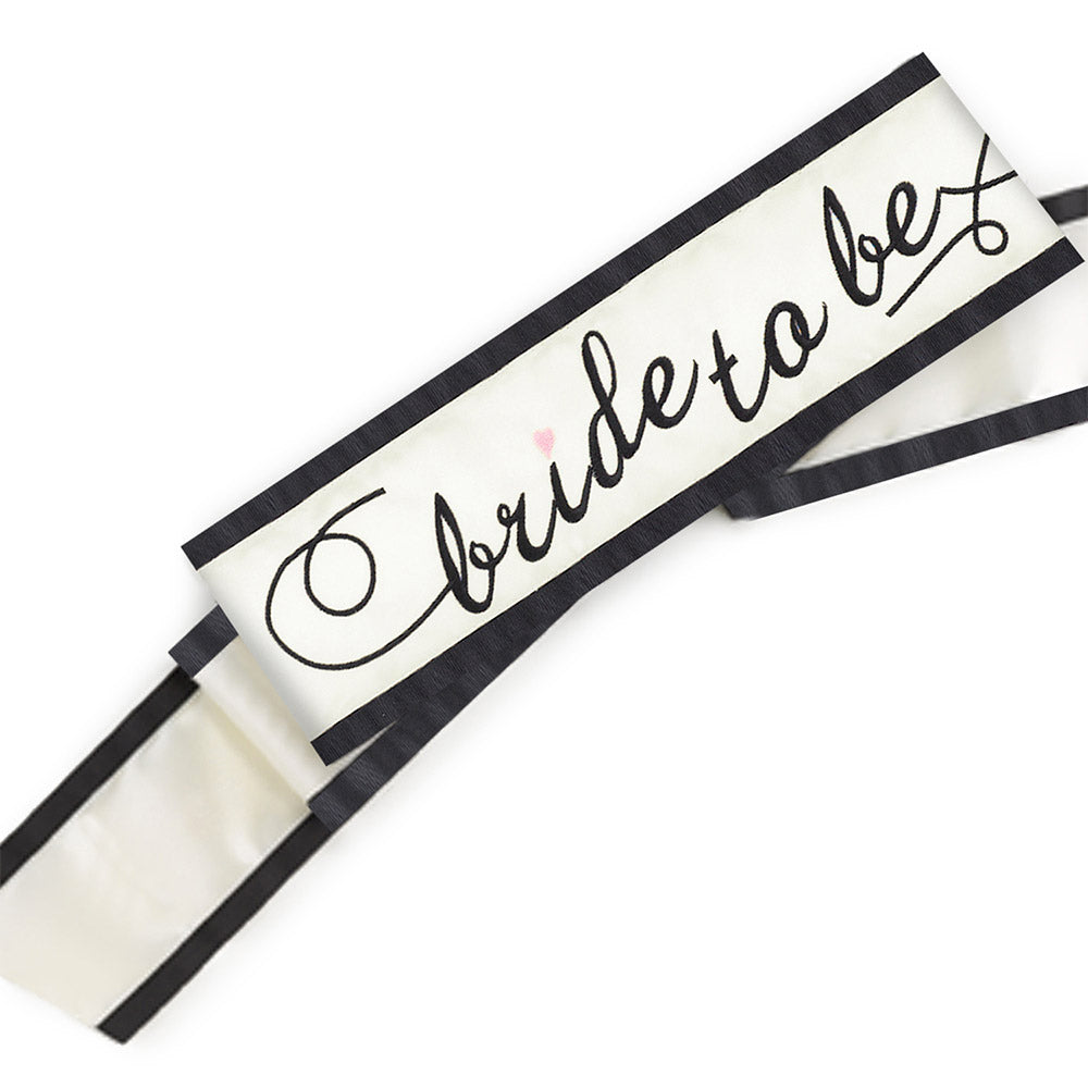 Bride-to-Be Black and Ivory Bridal Sash
