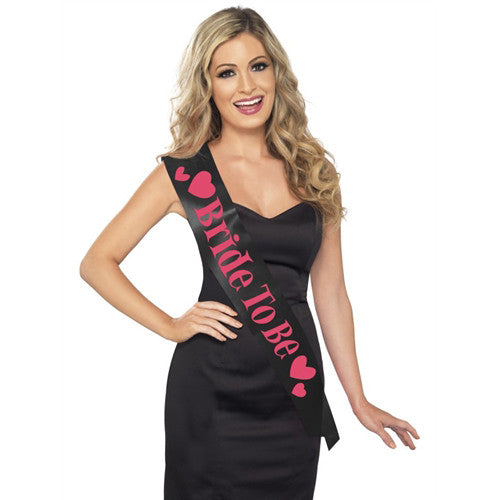 Black and Hot Pink Bride To Be Sash