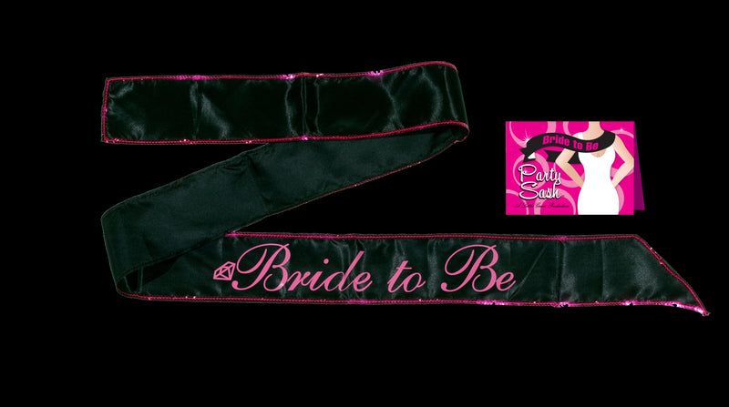 "Bride To Be Sash ""Script"" Pink on Black"