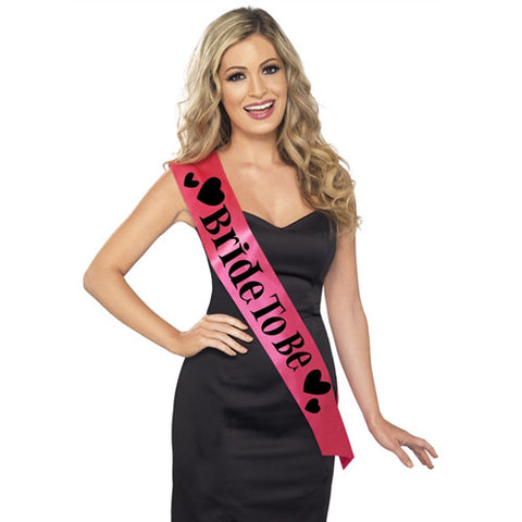 Hot Pink and Black Bride To Be Sash