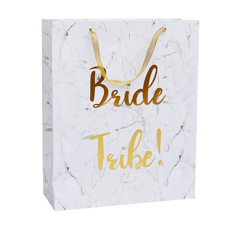 Bride Tribe White and Gold Gift Bag Birthday Party Welcome Bag