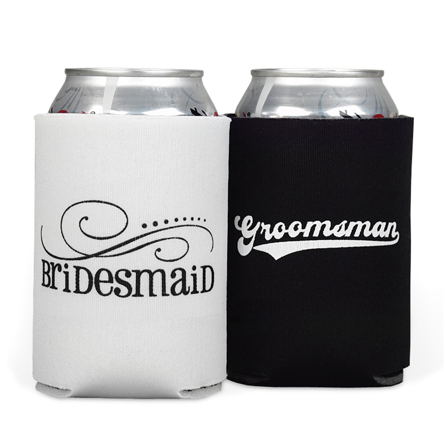 Wedding Party Koozie Can Bottle Coolers – Candy Cake Weddings