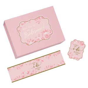 Pink and Gold Will You Be My Bridesmaid Proposal Box