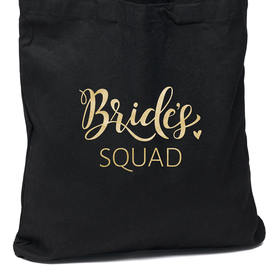 Bride's Squad Black and Gold Tote Bag