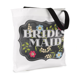 Bridesmaid Chalkboard Floral Wedding Party Tote Bag