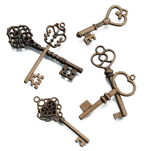 Bronze Set of 24 Assorted Keys for Crafts and Weddings Tag Favors
