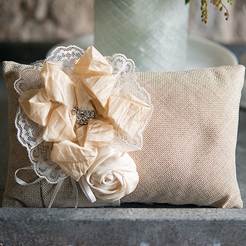 rustic burlap wedding ring pillow with flowers - Wedding Ring Pillow