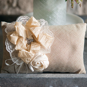 Rustic Burlap Wedding Ring Pillow with Flowers