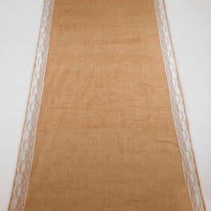 Burlap Aisle Runner with Delicate Lace Borders