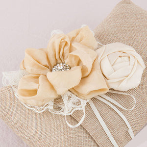 Flowers on a Burlap Chic Wedding Ring Pillow