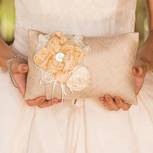 Burlap Wedding Ring Pillow with Flowers