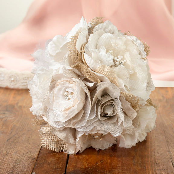 Burlap and Lace Wedding Ceremony Bride's Bouquet