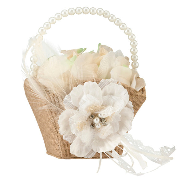 Burlap and Lace Wedding Flower Basket