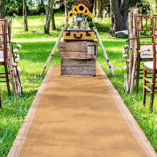 Burlap Rustic Wedding Aisle Runner with Lace Borders
