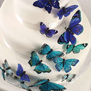 A close up of the Butterfly Wedding Party Cake Set in Something Blue
