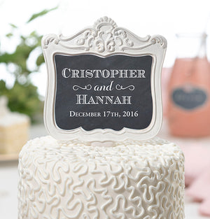 Personalized Double-Sided Frame Wedding Cake Topper Pick