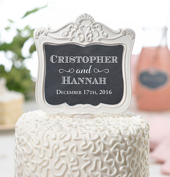 Personalized Double-Sided Vintage Frame Wedding Cake Topper Pick