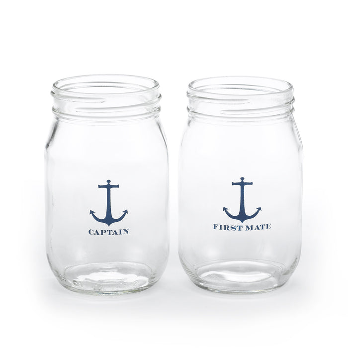 Captain and First Mate Nautical Drinking Jars (Set of 2)