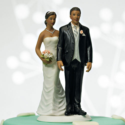 Funny Love Pinching Bride and Groom Wedding Cake Top