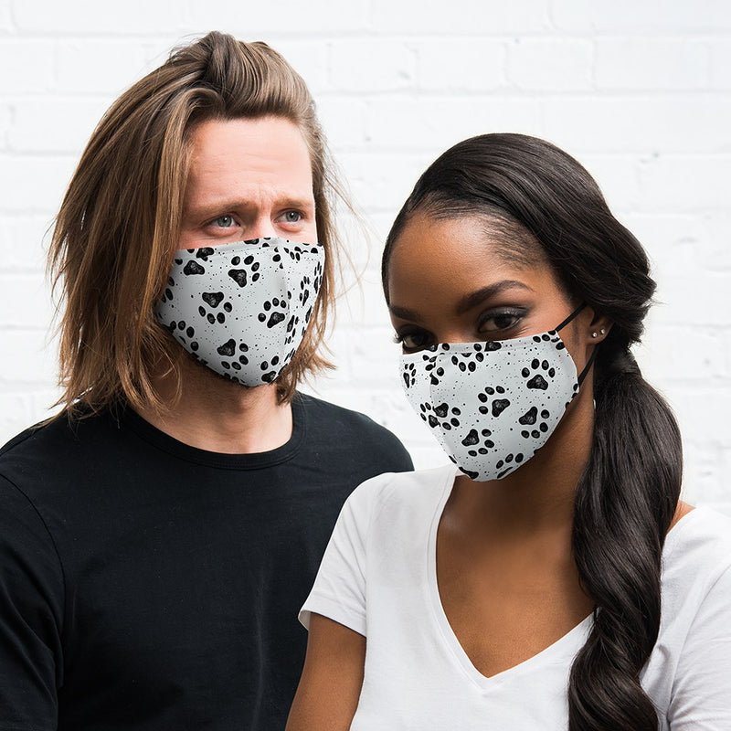 Cat and Dog Paw Prints Cloth Face Mask for him and her