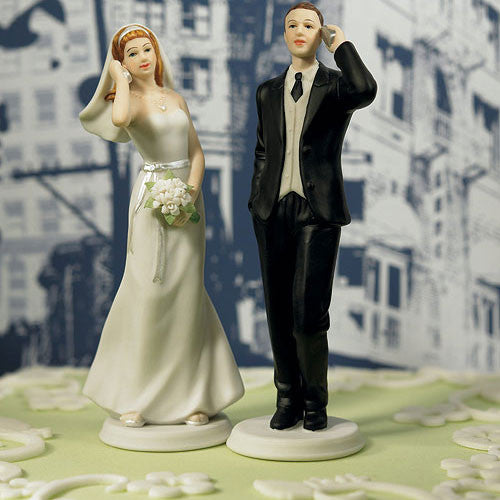 Cell Phone Bride or Groom Wedding Cake Topper