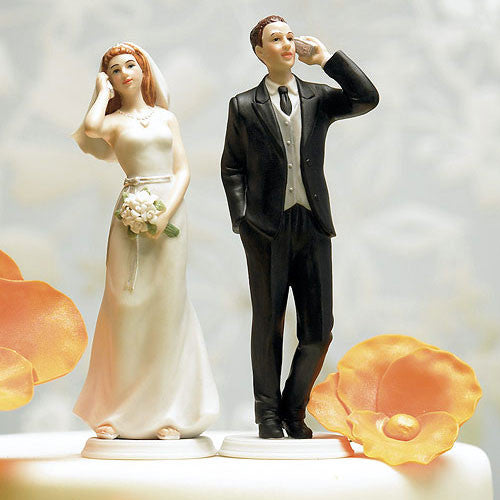 Cell Phone Bride or Groom Wedding Cake Top