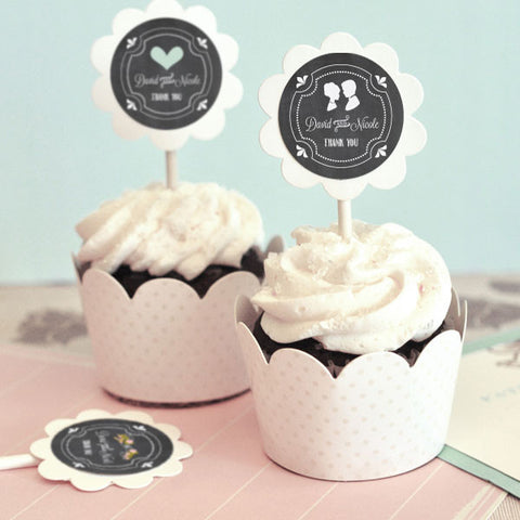 Chalkboard Wedding Cupcake Wrapper and Topper