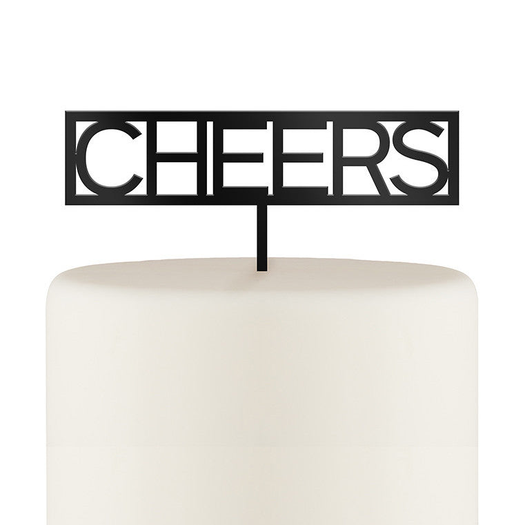 Block Cheers Acrylic Black or White Cake Topper