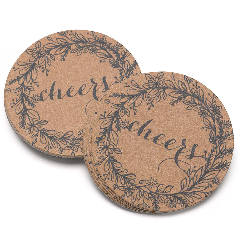 Rustic Wreath Wedding Party Drink Coaster