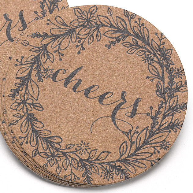 Rustic Wreath Wedding Party Drink Coaster (Pack of 25)